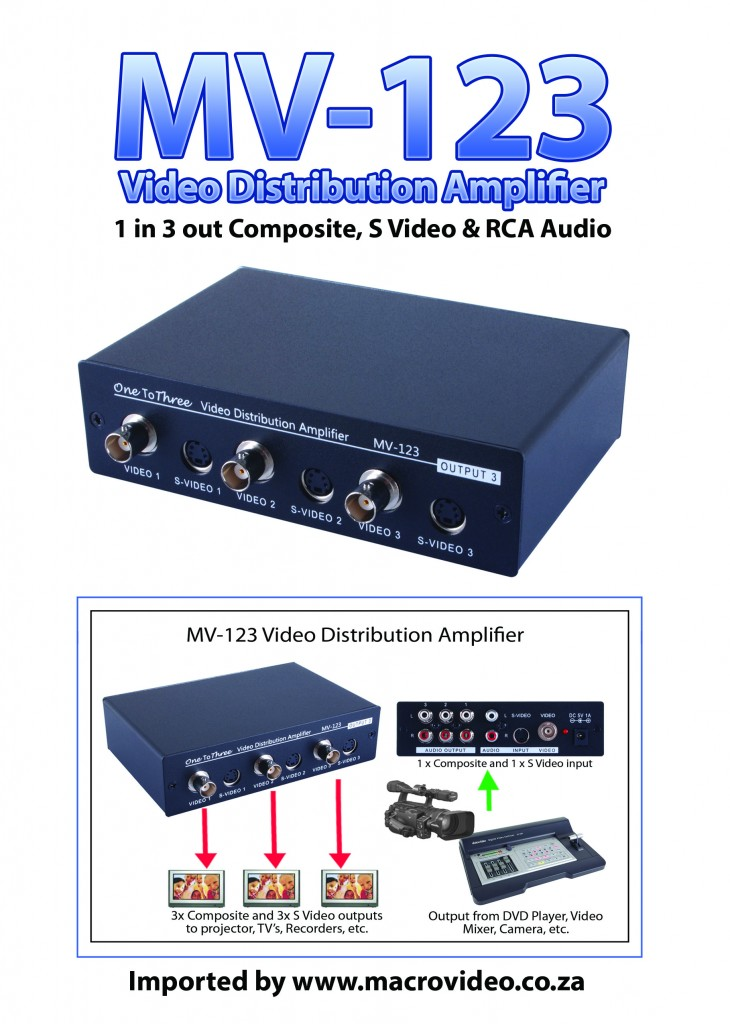 MV-123 1 to 3 BNC S video Stereo Audio Distribution